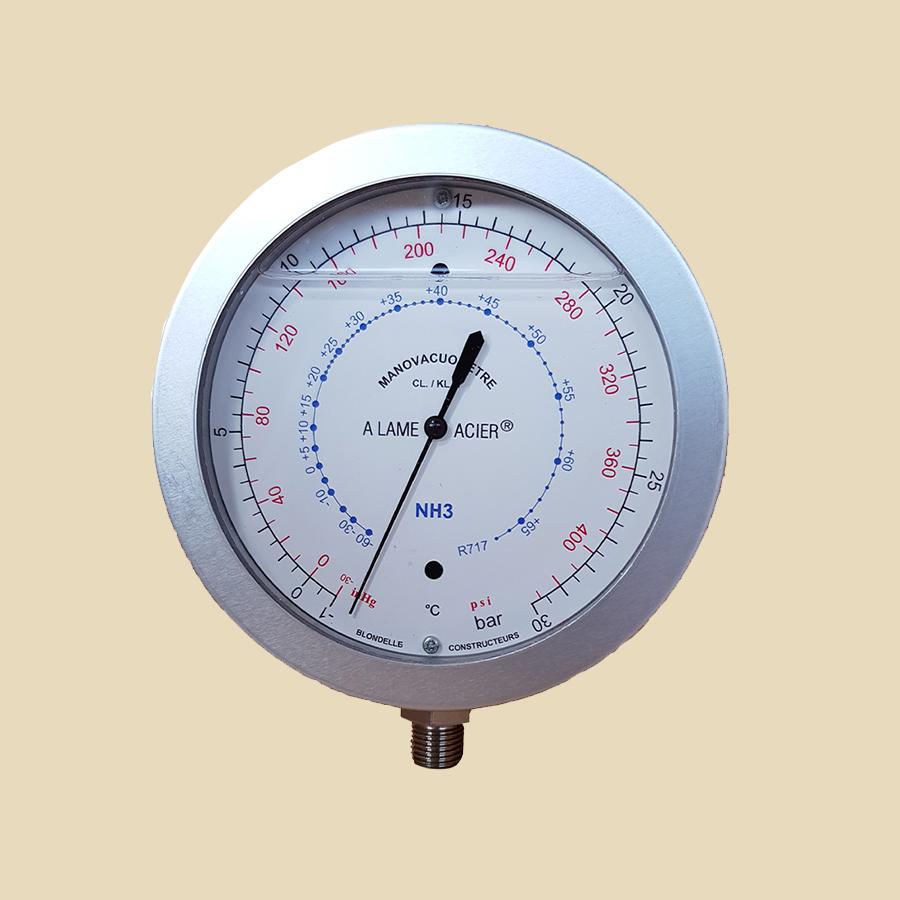 """Manomètre Alu à bain d'huile HP NH3 (-1 à 30 bar) 1/4""""M Gaz - ø 100mm"""