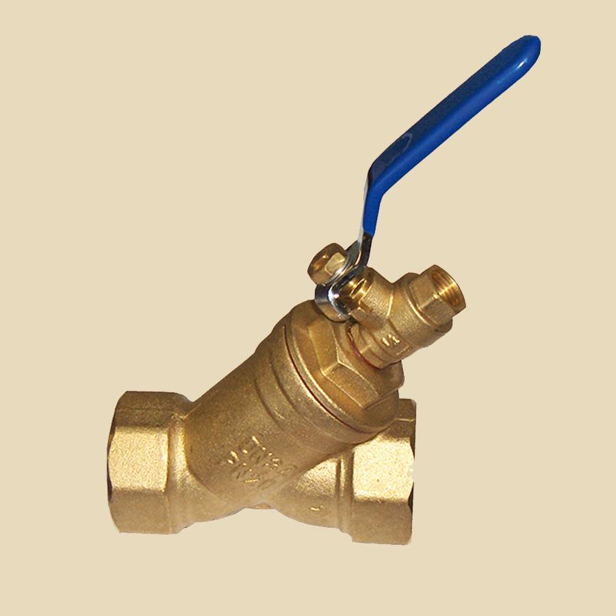 Filtre laiton à tamis DN15 FxF avec vanne de purge, pour eau glycolée -10°C