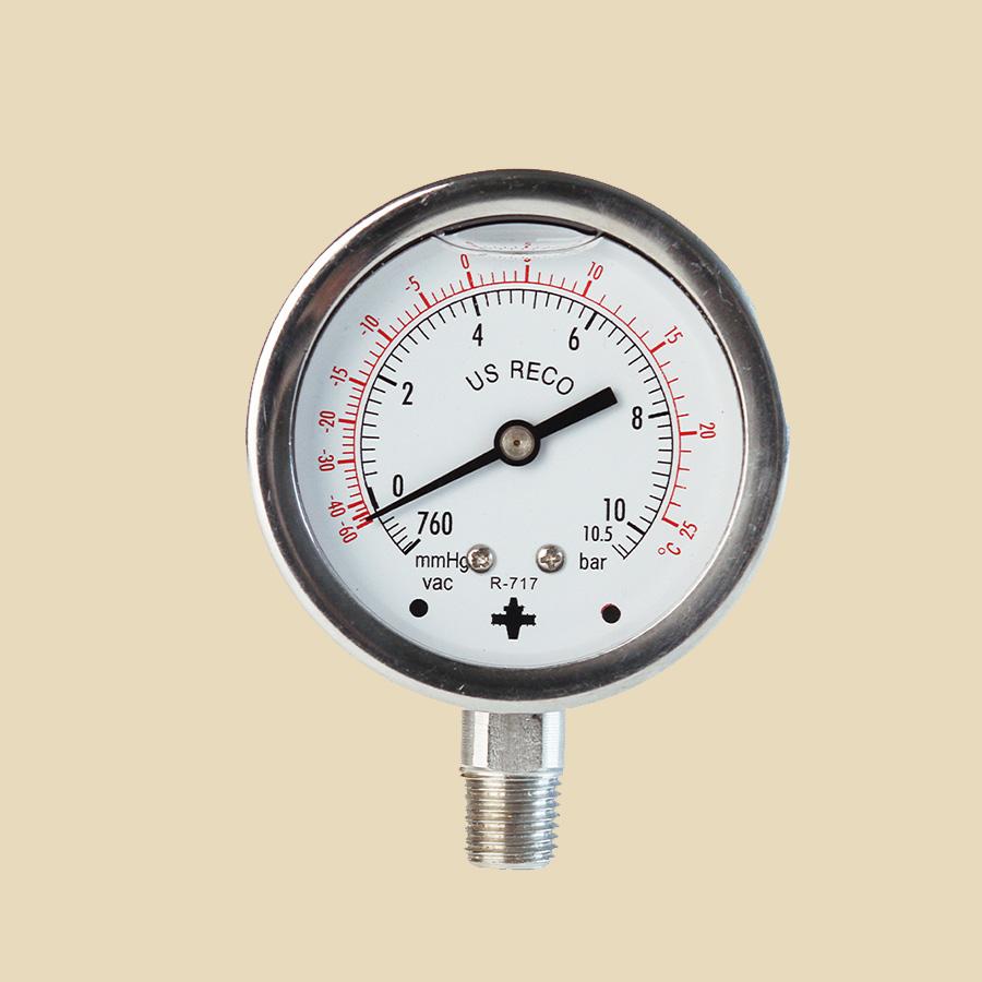 """Manomètre inox A2 à bain d'huile BP NH3 (0 à 10,5 Bar) 1/4"""" MPT diam 60mm"""