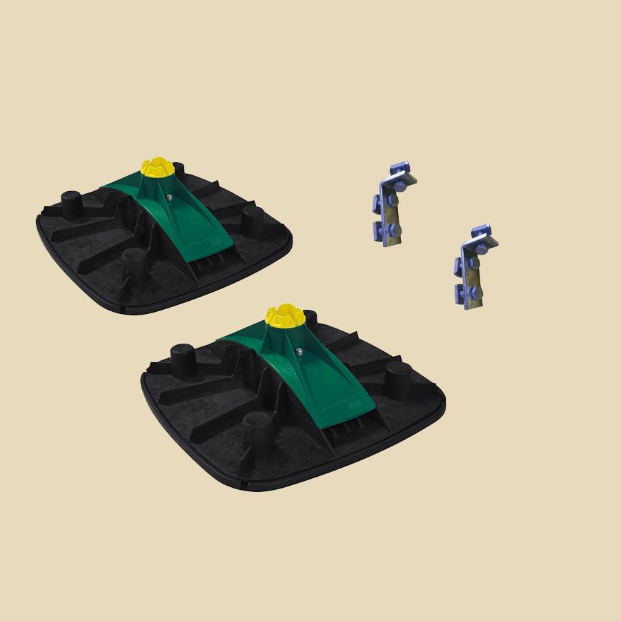 Support en H inclinable jusqu'à 7° Comprend 2 pieds, 2 équerres et visserie