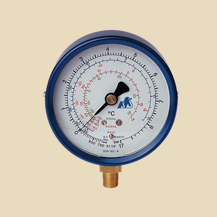 "Manomètre BP (-1 à 8 bar) sec 1/8"" MPT 80mm R12, R22 et R502"