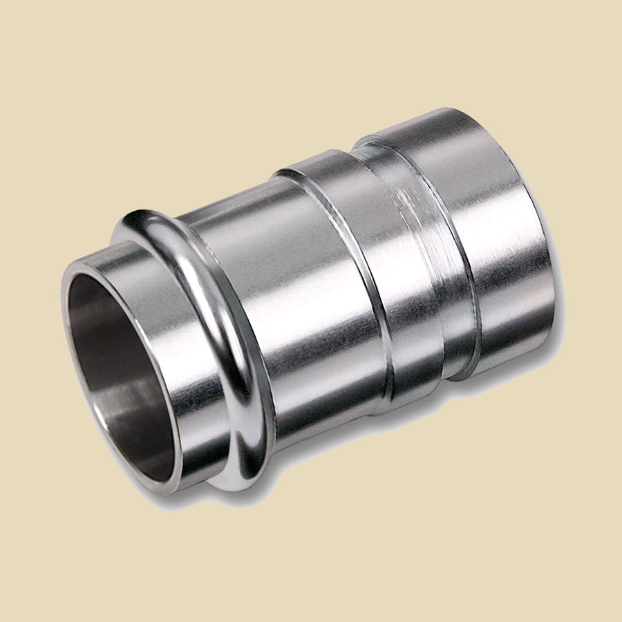 Manchon de transition Inox 304 108mm Femelle à Sertir x 114mm écrou rainuré à emboiter compatible avec profils SA ou M