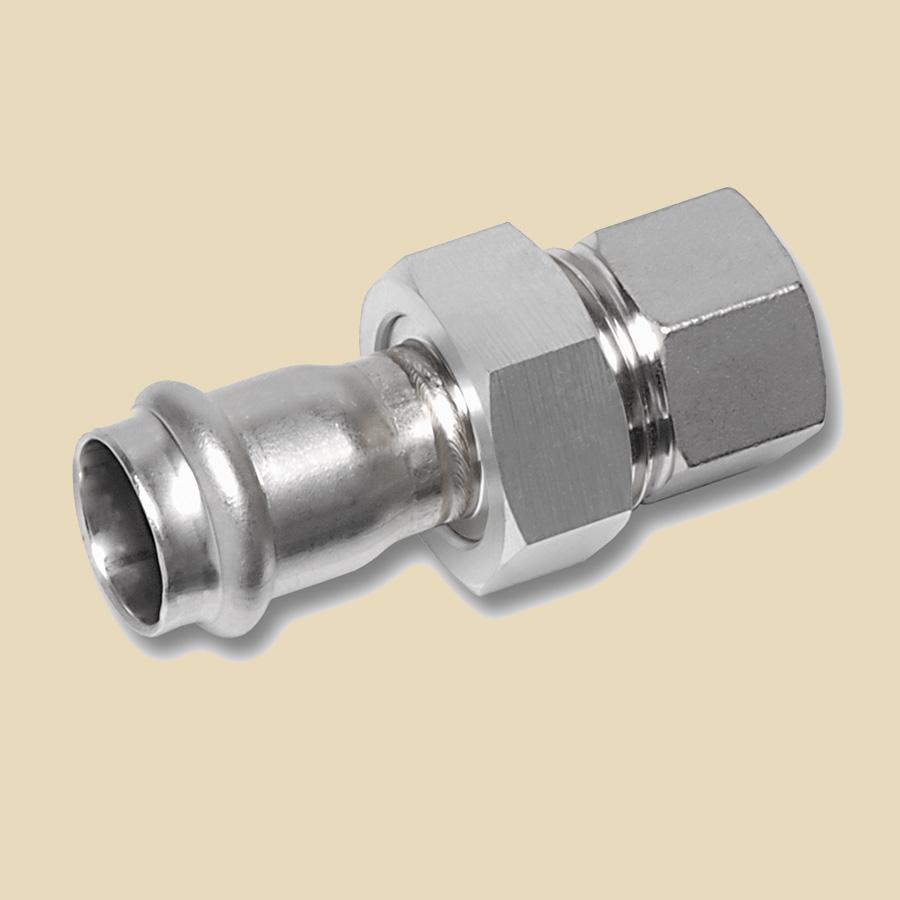 Manchon 3 pièces Inox 304 15mm Femelle  à Sertirx 1/2