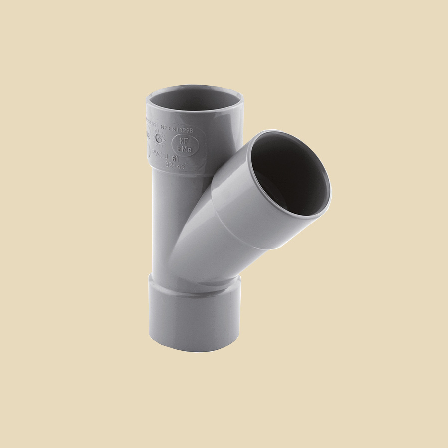 Té culotte 45° FF PVC gris Ø 32mm Prix/Pièce