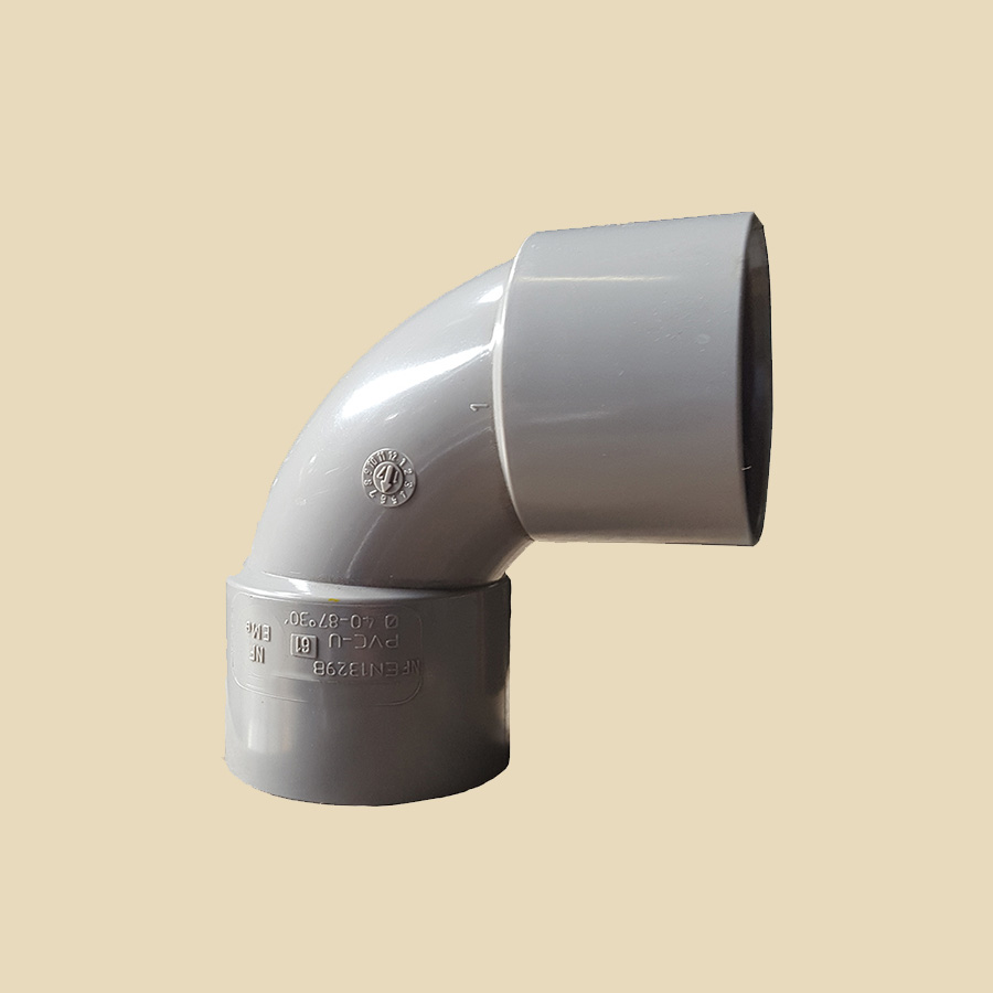Coude 87° FF PVC gris Ø 125mm Prix/Pièce