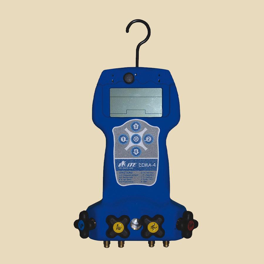 Manifold électronique 4 voies seul pour R134a, 290a, 407C, 407F, 410A, 600a R1234yf, 744 (CO2)  pression max: 56 bar