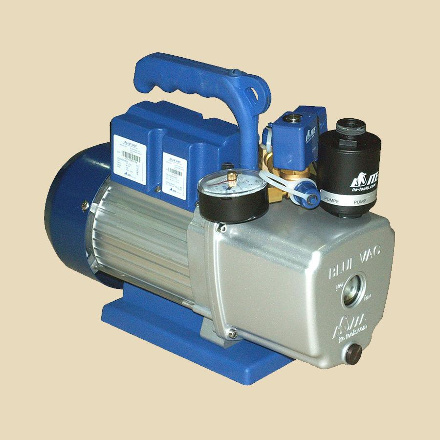 Pompe à vide 120l/min double étages avec système gaz ballast VEM anti-retour & vacuomètre inclus