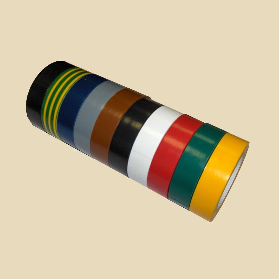Lot de 10 rubans adhésif (9 couleurs) ep. 0,10mm - larg. 15mm - long. 10m
