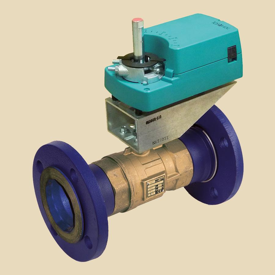 Vanne 2 voies laiton boisseau DN65 (kv 63) Moteur DAL1 24 Nm 24VCA/CC 2/3 pts + kit 518